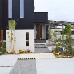 ESTINA/エスティナ/ガーデン/外構/エクステリア/庭/... 黒のガルバが引き立つナチュラルリーフガー…