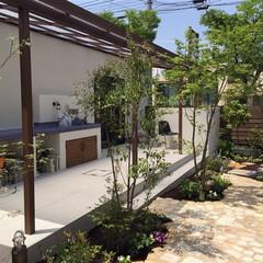 ESTINAGARDENAWARD/ESTINA/ガーデン/外構/エクステリア/庭/... 白いタイルデッキと木調のテラス屋根