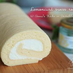 ロールケーキ/お菓子/おやつ/レモンカード/手作りお菓子/簡単/... レモンカードを使ってロールケーキを焼きま…