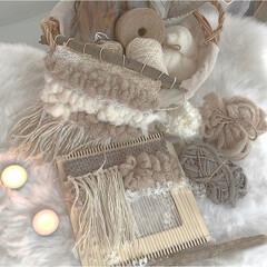 毛糸/キャンドル/タペストリー/手作り/ウィービングタペストリー/秋/... ハンドメイドでウィービングタペストリーを…