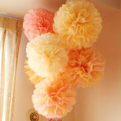 子供部屋/フラワーポンポン 子供部屋に飾っているフラワーポンポンです。