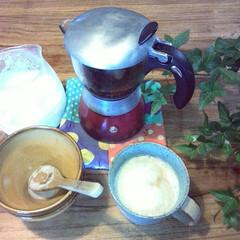 エスプレッソマシーン/マグカップ/カプチーノ エスプレッソにアワアワのコーヒー☀大好物…