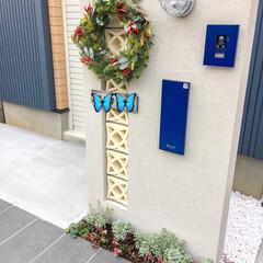 ガレージシャッター/門柱/クリスマス/クリスマスツリー/ハンドメイド 昨夜完成したクリスマスリース🎄 玄関に飾…