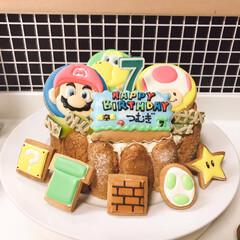 7歳/誕生日/手作り/アイシングクッキー/キャラケーキ/マリオ 次男7歳の時のバースデーケーキ🎂 ほとん…