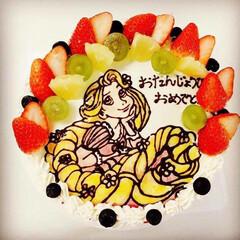 手作り/お誕生日/天然色素使用/デココーキ/キャラケーキ/フード/... ラプンツェルのケーキ❁