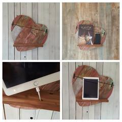 本/タブレット/スマホ/DIY/ハンドメイド/ハート/... ジャンクに仕上げたハート型の壁掛ラックで…