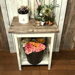 テーブル/デスク/コンソール/アンティーク/ミンネ/minne グリーンや花を飾るのにピッタリな 小さな…
