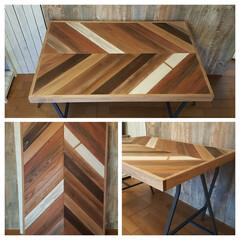 ヘリンボーン/天板/住まい/インテリア/ハンドメイド/DIY/... ヘリンボーン柄のテーブル用天板です。 ミ…