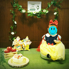 白雪姫/ハーフバースデー/子育て/子供/記念撮影/記念写真/... 2月は下の娘のハーフバースデーでした。記…