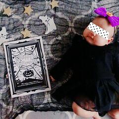 ごろ寝/記念写真/赤ちゃん/ハロウィン2019/セリア/100均 我が家は1歳まで毎月記念撮影をします。長…(2枚目)