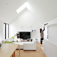 建築/住まい/シンプル住宅/不動産・住宅/注文住宅/猫と住む家/... お引越後のリビングの様子  ソファでくつ…