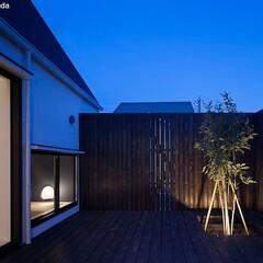 建築/住まい/平屋/中庭 中庭夜景  リビング南側の外は二面を木塀…