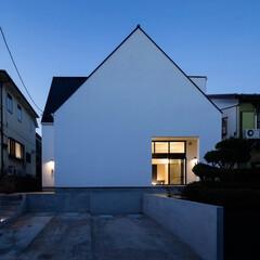 建築/住まい/二世帯住宅/シンプル住宅/不動産・住宅/OUCHI-40/... 猫と住む家 横浜の二世帯住宅の外観夜景で…
