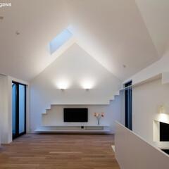 建築/住まい/猫と住む家/猫と暮らす家/キャットウオーク/建築家と建てる家/... 夜景リビング  テレビの上にはLED式の…