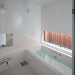 建築/住まい/建築デザイン/注文住宅/シンプル住宅 在来工法の浴室 ハコノオウチ13(1枚目)