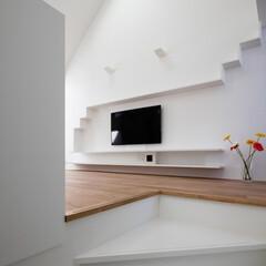 建築/住まい/建築家と建てる家/猫と暮らす家/猫と住む家/キャットウオーク/... 猫のためのキャットウオークをTV棚につな…