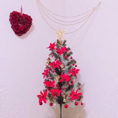 #クリスマス 持っていたツリーにダイソーのオーナメント…
