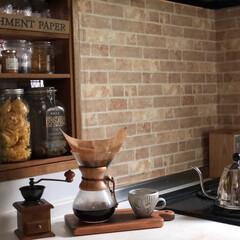 コーヒータイム/カフェインテリア/おうちカフェ/見せる収納/キッチンシェルフ/瓶収納/... 私のコーヒータイム。 KALITAのコー…