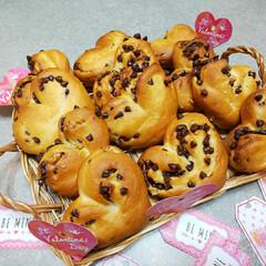 ハート型/ぱん/てごね/グルメ/フード/スイーツ/... バレンタインのハートパン♪ てごねパンで…