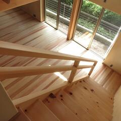 リビング/階段/吹抜/緑 階段をおりながら緑をみたい。 ご主人がそ…