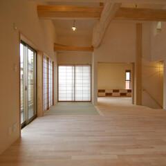 自然素材/木 木のおうちの2階リビング 屋根の形を利用…