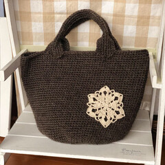 ドイリー/毛糸/ハンドメイド/手作り/冬/おでかけ/... 毛糸のバッグ、編みました! 荷物が多いの…