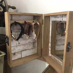 100均DIY/時計/時計収納/100均/セリア/簡単/... セリアの木箱で作ったシンプルキーボックス…