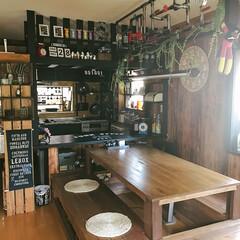 インダストリアル/キッチン/男前インテリア/男前/DIY/キッチン雑貨/... 我が家のキッチン&リビングです♥️ カウ…(1枚目)
