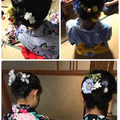 浴衣/髪飾り出番です/夏コーデ/ファッション 15日の夜は地区の盆踊り大会へ   6人…