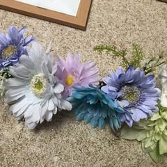 ヘアークリップ/浴衣に合う/造花アレンジ/作ってみた/ブルー系/ブルー/... 髪飾りを作ってみた    作るの楽しい😊…