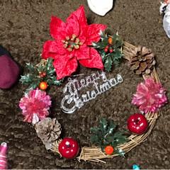 スターオブジェ/クリスマスブーツ/クリスマスリース/フォロー大歓迎/クリスマス/ハンドメイド/... 友達がクリスマスリースを作ってみたいと言…(2枚目)
