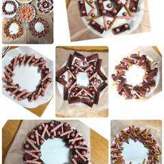 リース作り/お菓子/おうち/クリスマス/フード/スイーツ 子供たちと一緒にお菓子でリースを作ってみ…