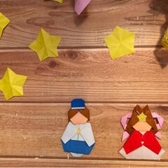 切り紙/折り紙/壁/笹/織姫と彦星/七夕/... 七夕飾り   飾り付け出来ました   ☆…(2枚目)