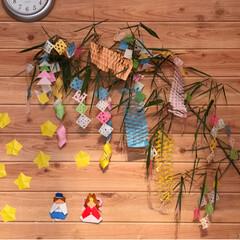 切り紙/折り紙/壁/笹/織姫と彦星/七夕/... 七夕飾り   飾り付け出来ました   ☆…