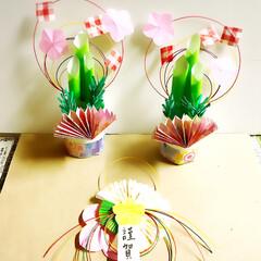 お正月/DIY/100均/ダイソー/セリア/お正月飾り/... 折り紙と水引きでお正月飾りをDIY🎍🍀😊…
