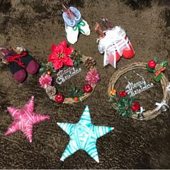スターオブジェ/クリスマスブーツ/クリスマスリース/フォロー大歓迎/クリスマス/ハンドメイド/... 友達がクリスマスリースを作ってみたいと言…
