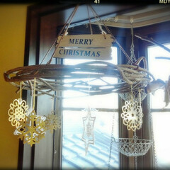 クリスマスオーナメント/真鍮/ドイツ製/雪の結晶/レース製/Seria キューイフルーツの蔓に 革紐を結び! ド…