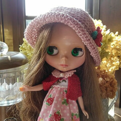 いちご柄/カスタム/アーバンカウガール/ブライス人形/雑貨/インテリア ブライス人形のアーバンカウガールのアニー…