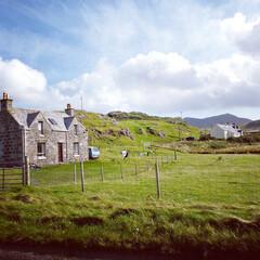 旅の思い出/洗濯/洗濯物/スコットランド/おでかけ/空 ヘブリディズ諸島で洗濯物を外干しする人は…