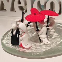 狐/ディスプレイ/がちゃがちゃ/ガチャ/狐の嫁入り/狐の婚礼/... ガチャの狐の婚礼、三体の傘持ちと一体のの…