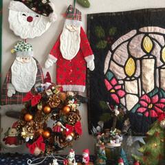 パッチワーク/変身/クリスマス/ハンドメイド 以前のハロウィンリースをクリスマスに変身…