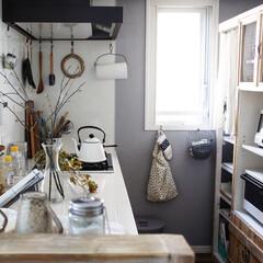 キッチンDIY/キッチン/シック/グレーの壁/ペイント キッチン奥の壁をグレーに塗りました。シッ…