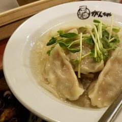 水餃子/なす/中華/グルメ/フード 近所の中華やさんへ 水餃子&黒酢酸辣湯麺…