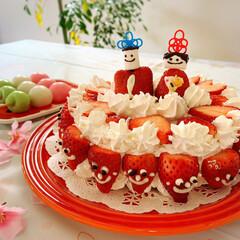 ケーキ/手作り/ひな祭り/おうちごはんクラブ/フード/スイーツ/... 今日娘と頑張って作ったケーキ🎂 頑張りま…