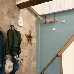 セルフペイント/ウォールペイント/玄関インテリア/玄関収納/DIY/セリア/... 我が家は二階がメインフロアなので、玄関入…