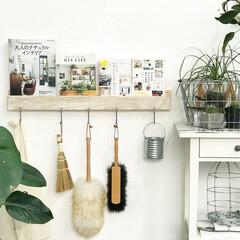 デッドスペース/収納/壁面収納/グリーン/DIY/インテリア/... すのこ板と角材、S字フックをつかって作っ…