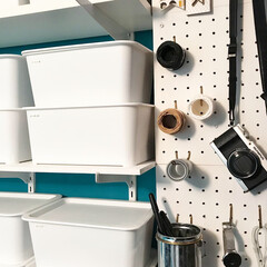 麻紐/マスキングテープ/壁面収納/パンチングボード/100均/セリア/... 壁面収納を寄りで(^^)♡ セリアのパン…
