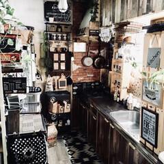 カフェインテリア/男前インテリア/雑貨/100均/セリア/ダイソー/... お気に入りの男前+カフェインテリアキッチ…
