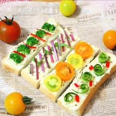 ポテトサラダ/ステックオープンサンド/彩り野菜 ポテトサラダのステックオープンサンドです♪