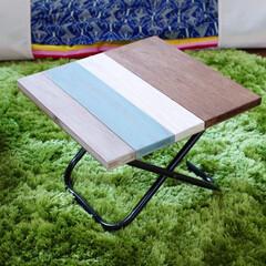 スクラップウッド風/折りたたみテーブル/100均/ダイソー/DIY ダイソーのアウトドア椅子で折りたたみテー…